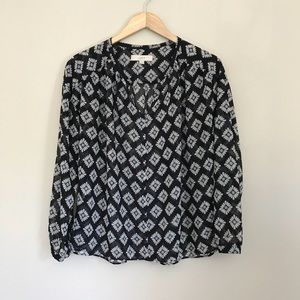 Loft Floral Printed Sheer Blouse Shirt Small A8